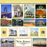 Scrapbook Customs - State Sightseeing Collection - 12 x 12 Sticker Cut Outs - New Jersey