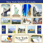 Scrapbook Customs - State Sightseeing Collection - 12 x 12 Sticker Cut Outs - New York