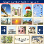Scrapbook Customs - State Sightseeing Collection - 12 x 12 Sticker Cut Outs - South Carolina