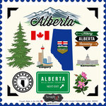 Scrapbook Customs - Canadian Provinces Sightseeing Collection - 12 x 12 Cardstock Stickers - Alberta