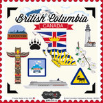 Scrapbook Customs - Canadian Provinces Sightseeing Collection - 12 x 12 Cardstock Stickers - British Columbia