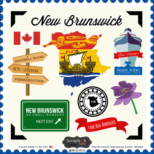 Scrapbook Customs - Canadian Provinces Sightseeing Collection - 12 x 12 Cardstock Stickers - New Brunswick