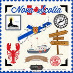 Scrapbook Customs - Canadian Provinces Sightseeing Collection - 12 x 12 Cardstock Stickers - Nova Scotia