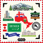 Scrapbook Customs - Canadian Provinces Sightseeing Collection - 12 x 12 Cardstock Stickers - Ontario