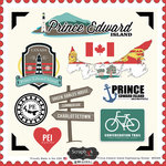 Scrapbook Customs - Canadian Provinces Sightseeing Collection - 12 x 12 Cardstock Stickers - Prince Edward Island