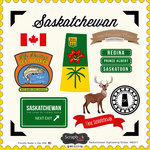 Scrapbook Customs - Canadian Provinces Sightseeing Collection - 12 x 12 Cardstock Stickers - Saskatchewan