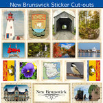 Scrapbook Customs - Canadian Provinces Sightseeing Collection - 12 x 12 Sticker Cut Outs - New Brunswick