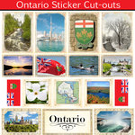 Scrapbook Customs - Canadian Provinces Sightseeing Collection - 12 x 12 Sticker Cut Outs - Ontario