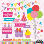 Scrapbook Customs - Birthday Girl Collection - Cardstock Stickers - Balloons