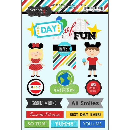 Scrapbook Customs - Doo Dads - Self Adhesive Metal Badges - Magical Day of Fun