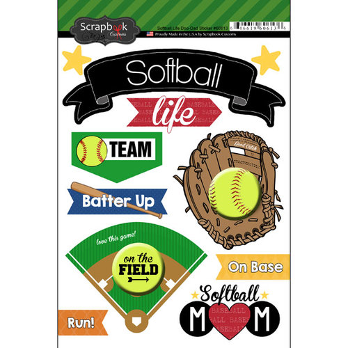 Scrapbook Customs - Softball Life Collection - Doo Dads - Stickers