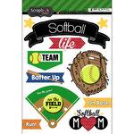 Scrapbook Customs - Softball Life Collection - Doo Dads - Stickers