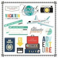 Scrapbook Customs - Travel Memories Collection - 12 x 12 Cardstock Stickers - Elements