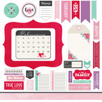 Scrapbook Customs - Valentines Collection - 12 x 12 Cardstock Stickers - February Memory Elements