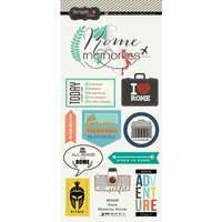 Scrapbook Customs - Travel Adventure Collection - Cardstock Stickers - Rome Memories