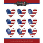 Scrapbook Customs - Cardstock Stickers USA Heart Flag Repeating