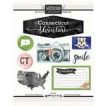 Scrapbook Customs - Cardstock Stickers - Connecticut Watercolor