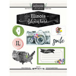 Scrapbook Customs - Cardstock Stickers - Illinois Watercolor
