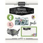 Scrapbook Customs - Cardstock Stickers - Illinois Watercolor