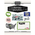 Scrapbook Customs - Cardstock Stickers - Nebraska Watercolor
