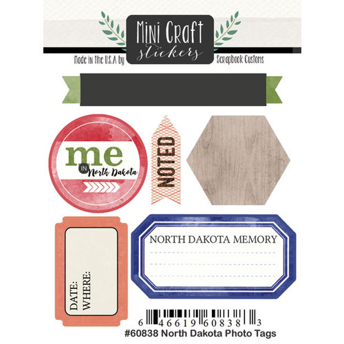 Scrapbook Customs - Cardstock Stickers - Mini Craft - North Dakota Photo Tags