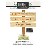 Scrapbook Customs - Cardstock Stickers - Mini Craft - North Dakota Wood Sign