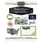 Scrapbook Customs - Cardstock Stickers - Pennsylvania Watercolor