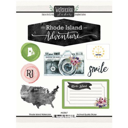 Scrapbook Customs - Cardstock Stickers - Rhode Island Watercolor