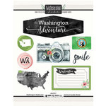 Scrapbook Customs - Cardstock Stickers - Washington Watercolor