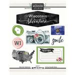 Scrapbook Customs - Cardstock Stickers - Wisconsin Watercolor