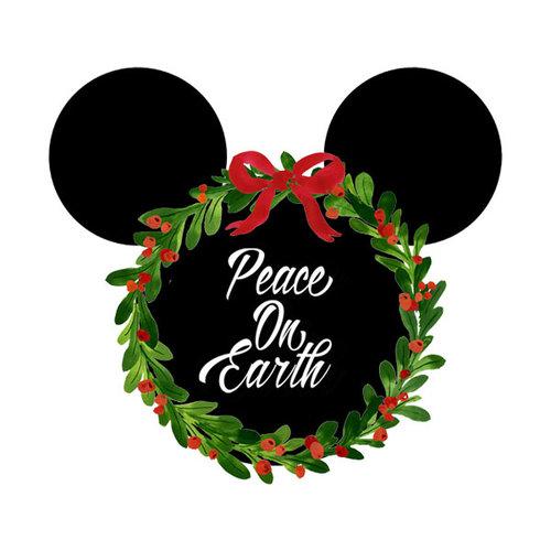Scrapbook Customs - Cardstock Stickers - Christmas Wreath - Magic Ears