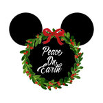 Scrapbook Customs - Cardstock Stickers - Christmas Wreath - Magic Ears