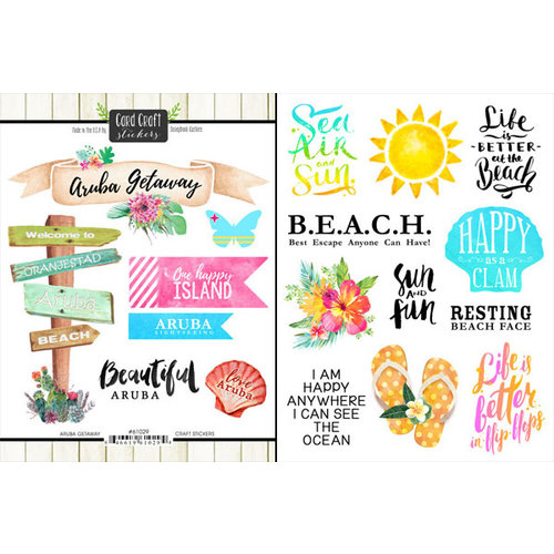Scrapbook Customs - World Collection - Aruba - Cardstock Stickers - Getaway