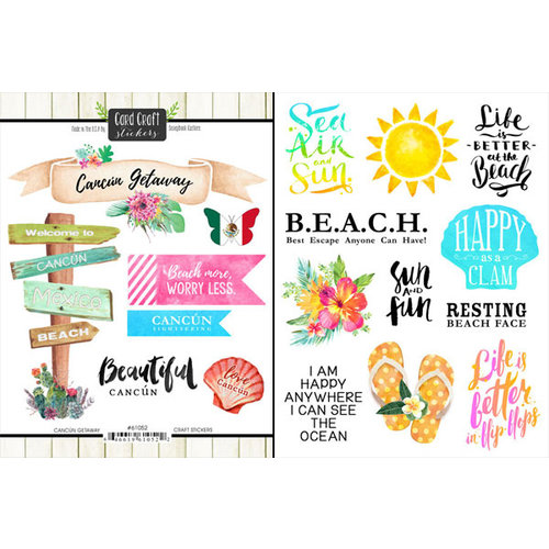 Scrapbook Customs - World Collection - Mexico - Cardstock Stickers - Getaway - Cancun