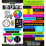 Scrapbook Customs - Neon Sports Collection - Baseball - Cardstock Stickers