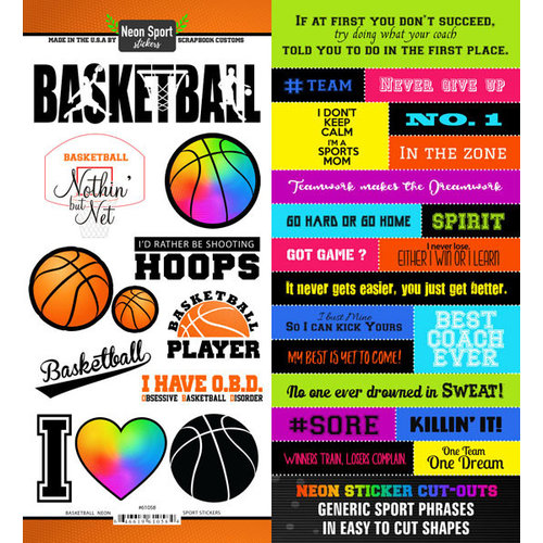 Scrapbook Customs - Neon Sports Collection - Basketball - Cardstock Stickers
