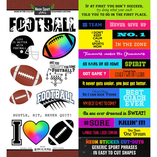 Scrapbook Customs - Neon Sports Collection - Football - Cardstock Stickers