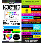 Scrapbook Customs - Neon Sports Collection - Hockey - Cardstock Stickers