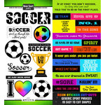 Scrapbook Customs - Neon Sports Collection - Soccer - Cardstock Stickers