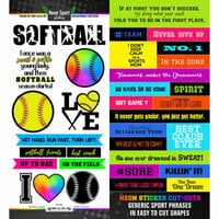 Scrapbook Customs - Neon Sports Collection - Softball - Cardstock Stickers