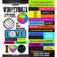 Scrapbook Customs - Neon Sports Collection - Volleyball - Cardstock Stickers