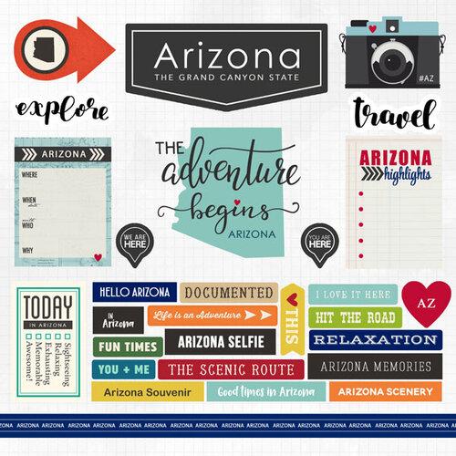 Scrapbook Customs - Adventure Collection - 12 x 12 Cardstock Stickers - Arizona