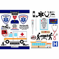 Scrapbook Customs - Occupations Collection - Cardstock Stickers - Paramedic and EMT