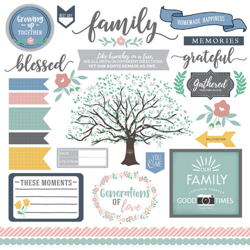 Scrapbook Customs - Family Collection - 12 x 12 Cardstock Stickers - Elements