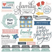 Scrapbook Customs - Family Collection - 12 x 12 Cardstock Stickers - Sayings