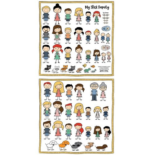 Scrapbook Customs - Family Collection - 12 x 12 Cardstock Stickers - Cut Outs - Family Figures - Light