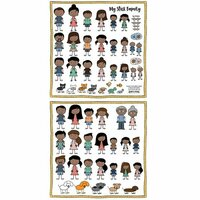 Scrapbook Customs - Family Collection - 12 x 12 Cardstock Stickers - Cut Outs - Family Figures - Dark