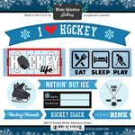 Scrapbook Customs - Winter Adventure Collection - Cardstock Stickers - Hockey