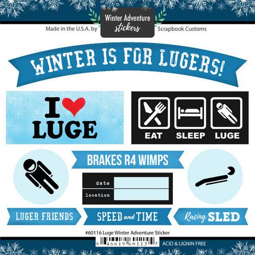 Scrapbook Customs - Winter Adventure Collection - Cardstock Stickers - Luge