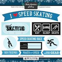 Scrapbook Customs - Winter Adventure Collection - Cardstock Stickers - Speed Skating